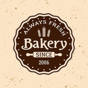 Emblema, etichetta, distintivo o logo tondo vettoriale vintage da forno su sfondo di colore chiaro