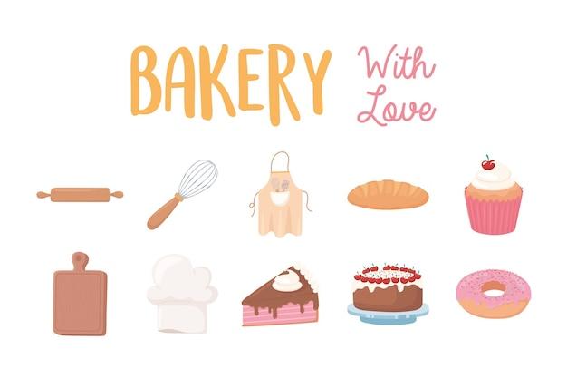 Panetteria con icone di amore ciambella torta cupcake pane e utensili illustrazione