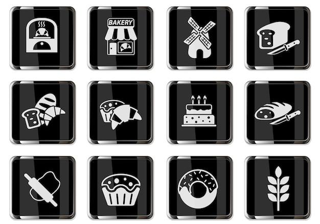Pittogrammi bakeshop in bottoni cromati neri. set di icone per il tuo design. icone vettoriali