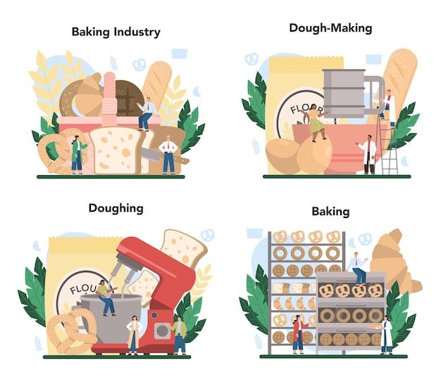 Insieme di concetto di industria di cottura. processo di pasticceria da forno.