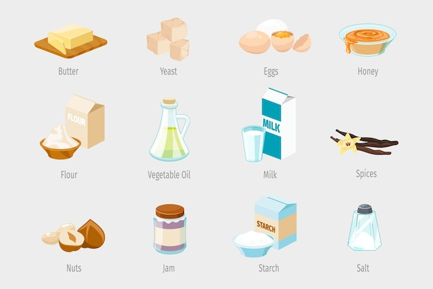 Ingredienti per la cottura in stile cartone animato. set di icone di cibo vettoriale. illustrazione di olio vegetale, farina e miele, marmellata e noci, spezie e zucchero