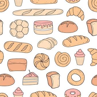 Modello di cottura disegnato in stile scarabocchio in bianco e nero torta di pane monchik croissant