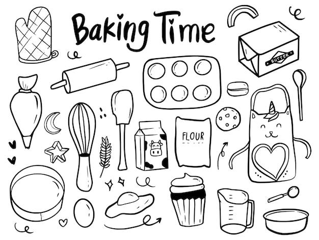 Tempo di cottura strumenti e torta doodle illustrazione disegno fumetto