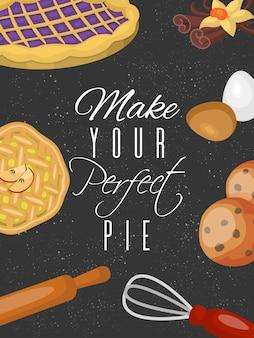Manifesto della scuola di formazione di cottura. dolci fruttati al cioccolato pasticceria dolce con cupcakes