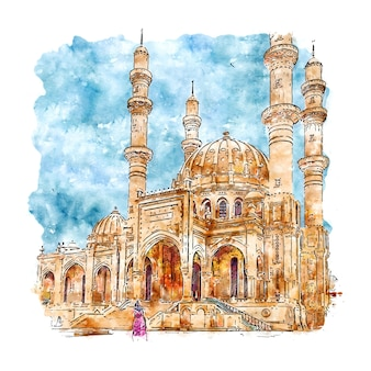 Illustrazione disegnata a mano di schizzo dell'acquerello di baku azerbaijan