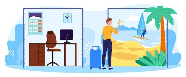 Equilibrio tra lavoro aziendale e illustrazione vettoriale di concetto di riposo. uomo d'affari del fumetto che tiene i biglietti aerei di aria, sognando la vacanza di riposo dell'isola tropicale