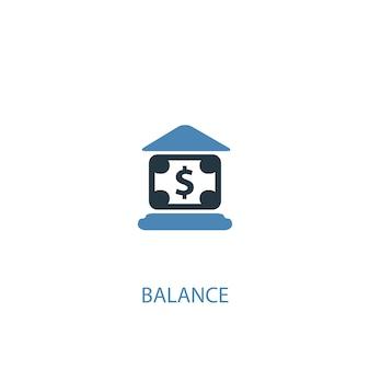 Concetto di equilibrio 2 icona colorata. illustrazione semplice dell'elemento blu. disegno di simbolo del concetto di equilibrio. può essere utilizzato per ui/ux mobile e web
