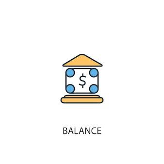 Concetto di equilibrio 2 icona linea colorata. illustrazione semplice dell'elemento giallo e blu. disegno del simbolo del contorno del concetto di equilibrio