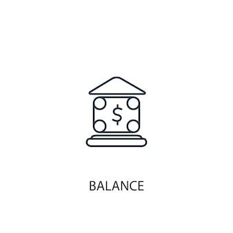 Icona della linea di concetto di equilibrio. illustrazione semplice dell'elemento. disegno di simbolo di contorno di concetto di equilibrio. può essere utilizzato per ui/ux mobile e web