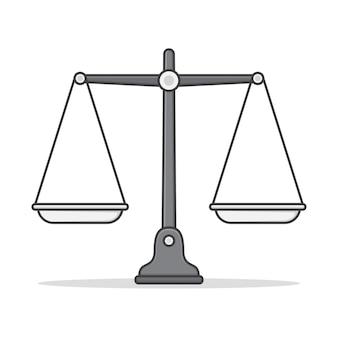 Bilancia di equilibrio icona illustrazione. icona piana di bilance vuote