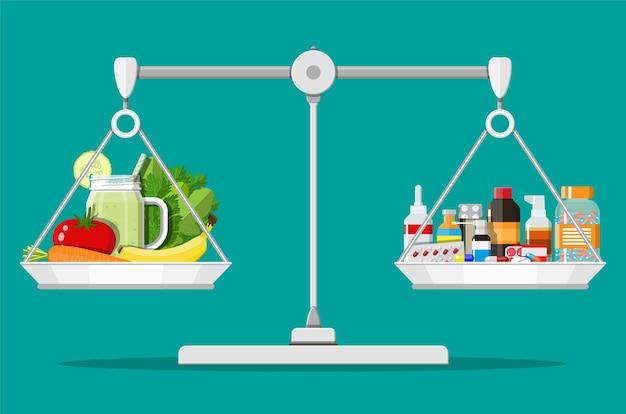 Bilancia la bilancia con verdure e droghe
