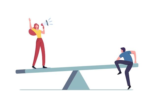 Equilibrio sul lavoro, uguaglianza dei valori e illustrazione di confronto