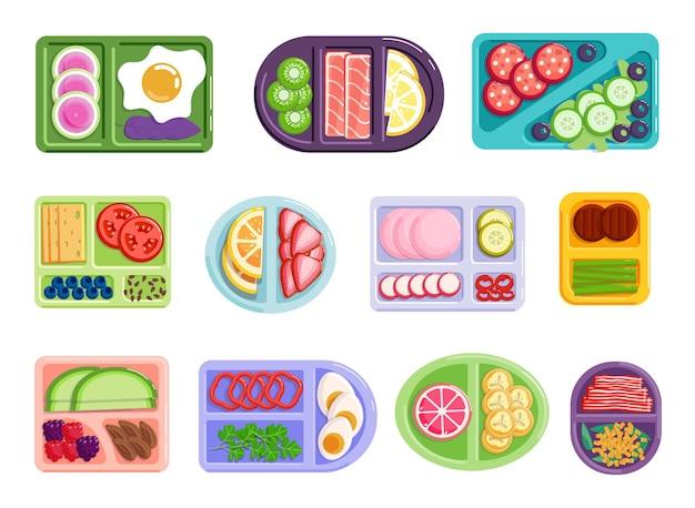 Nutrimento equilibrato che divide l'ingrediente dei panini sul piatto. assortimento di menu per l'assistenza sanitaria e un'alimentazione sana, nutrizione dietetica con illustrazione vettoriale di cibo vitaminico isolato su sfondo bianco