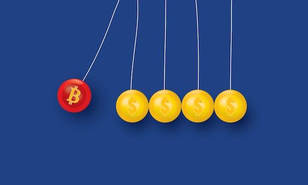 Bilanciamento palle newton culla in azione effetto bitcoin concetto ispirazione business