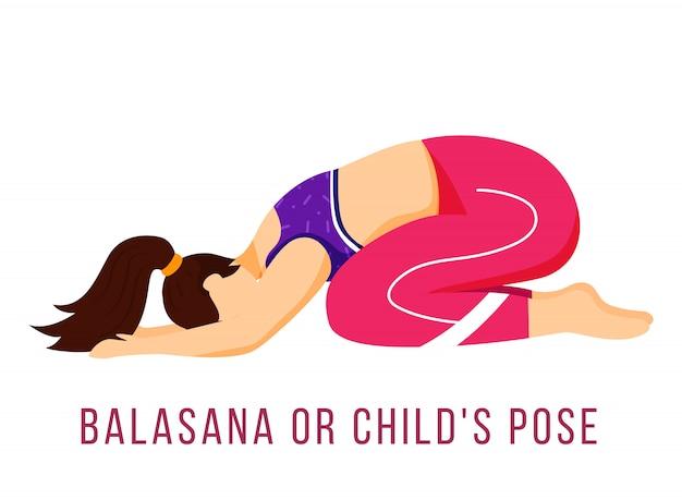 Illustrazione piatta balasana. posa del bambino. donna caucausiana che esegue la posizione yoga in abiti sportivi rosa e viola. allenarsi. esercizio fisico. personaggio dei cartoni animati isolato su sfondo bianco