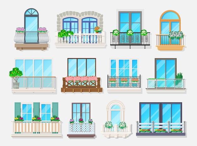 Balconi con design di finestre di elementi architettonici di facciata di casa e condominio