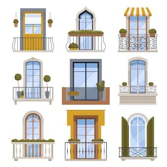Arredamento del balcone. facciata di vista frontale della parete della costruzione con le illustrazioni moderne di architettura di vettore del balcone. balcone della facciata, vista esterna esterna della decorazione dell'edificio
