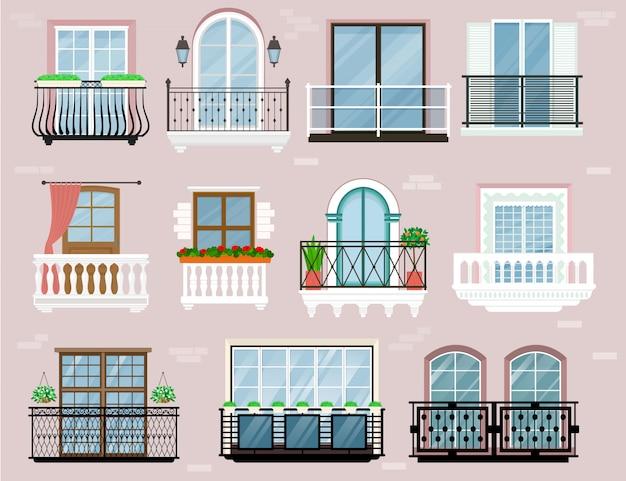 Parete della facciata delle finestre dell'inferriata balconata d'annata di vettore del balcone di costruzione
