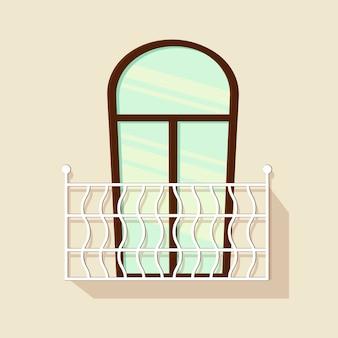 Finestra del balcone con una recinzione su uno sfondo bianco per la costruzione e il design. stile cartone animato. illustrazione.