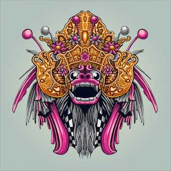 Illustrazione indonesiana della cultura di bali barong