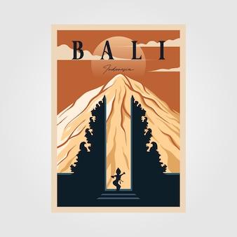 Cultura indonesiana di poster vintage della provincia di bali