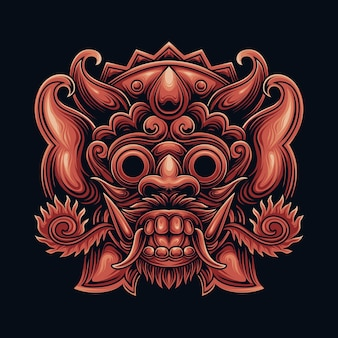 Maschera barong balinese dall'indonesiano