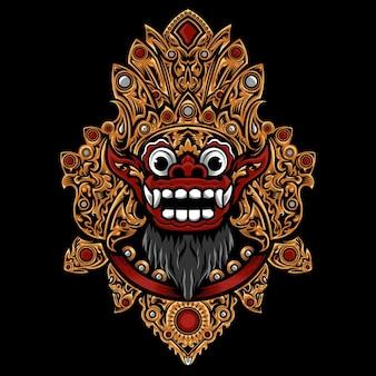 Icona di maschera barong balinese isolato sul nero