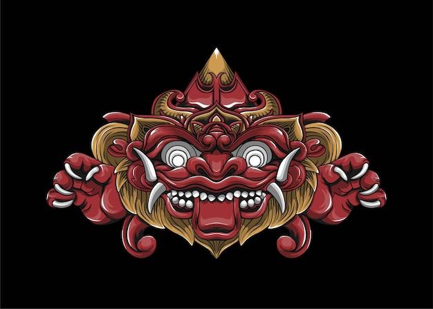 Balinese barong logo vettoriale illustrazione
