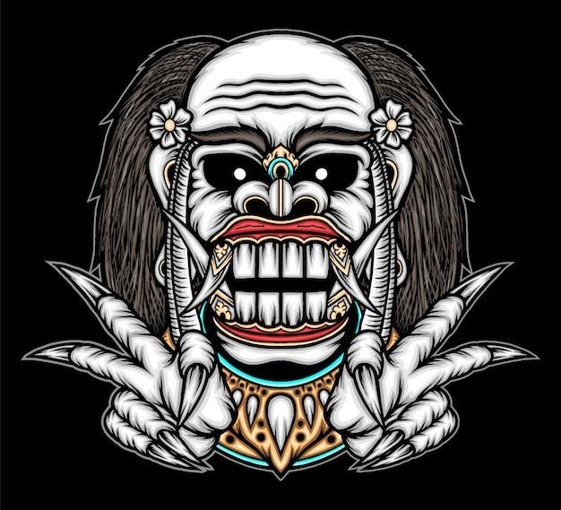 Illustrazione di maschera celuluk balinese. vettore premium