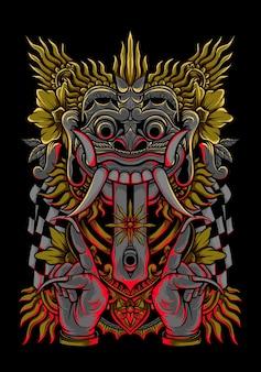 T-shirt di design di abbigliamento di arte vettoriale barong illustrazione balinese