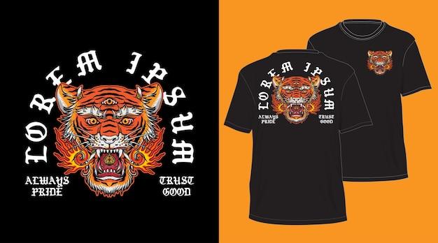 Design testa di tigre balinese per t-shirt nera