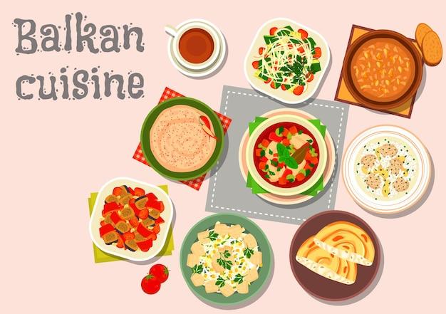 Cena di cucina balcanica con crema di formaggio alla paprika, salsa di noci all'aglio, insalata di verdure al forno, zuppa di riso con polpette, zuppa di pesce, insalata di verdure, insalata di uova di pesce, torta di formaggio