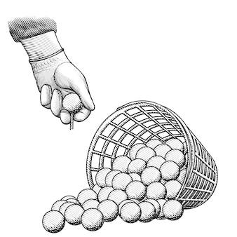 Palla da golf nel basket