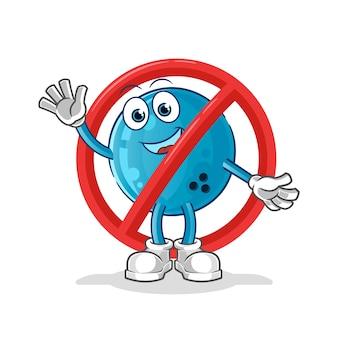La palla dice no alla mascotte del bowling. cartone animato
