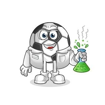 Mascotte del fumetto del carattere dello scienziato della palla