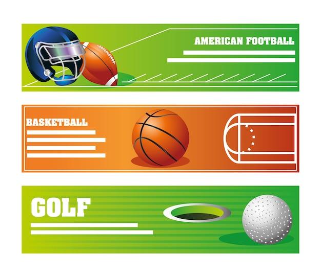 Insieme della bandiera di equiment di sport con la palla