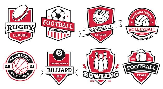 Logo sportivo con la palla. distintivi per football americano, calcio e campionato di basket. simbolo del torneo di pallavolo e bowling sull'insieme di vettore dello scudo. illustrazione logo sport club, distintivo di baseball