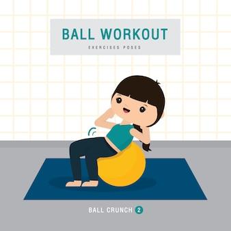 Allenamento palla. la donna che fa l'esercizio della palla di stabilità e l'addestramento di yoga a casa della palestra, resta a casa il concetto. personaggio dei cartoni animati illustrazione