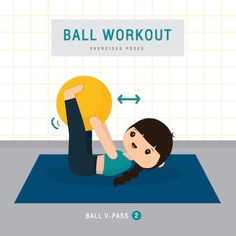 Allenamento palla. la donna che fa l'esercizio della palla di stabilità e l'allenamento di yoga a casa della palestra, resta a casa il concetto. personaggio dei cartoni animati illustrazione