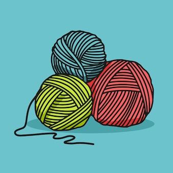 Illustrazione del fumetto del gomitolo di lana