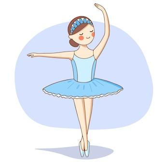 La ballerina in un tutù blu sta ballando sul palco.
