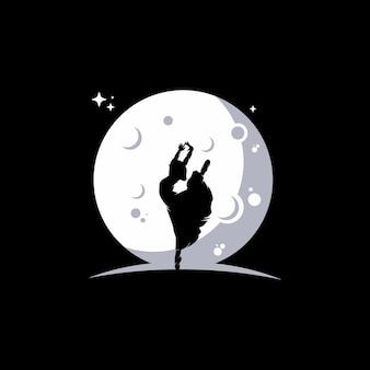 Ballerina che balla sulla luna