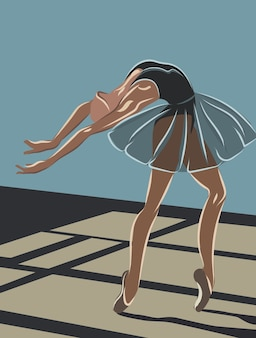 Ballerina in tutù body blu scuro e scarpette da ballo beige in posa