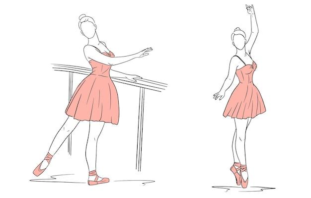 Ballerina in abito e scarpe da punta. stile di linea. ballerino. illustrazione vettoriale per design e decorazione.