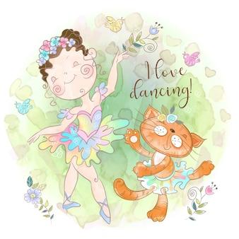 Ragazza ballerina che balla con un gattino giocattolo. amo ballare.