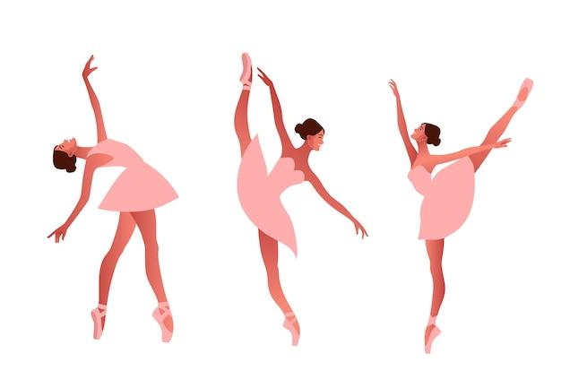 Ballerina e ballerino moderno set piatto illustrazione. bellezza del balletto classico. giovane ballerina graziosa donna che indossa tutu. scarpe da punta, colori pastello