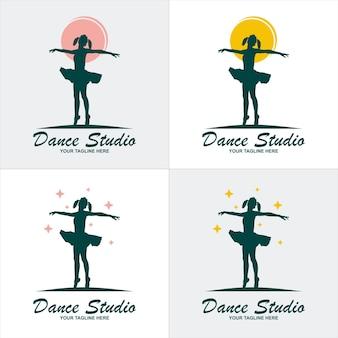 Simbolo dell'elemento del modello del logo dello studio di danza classica con colore sfumato di lusso