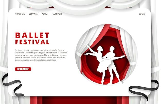 Illustrazione di vettore del modello dell'insegna del sito web di progettazione della pagina di destinazione del festival di balletto nello stile di arte di carta