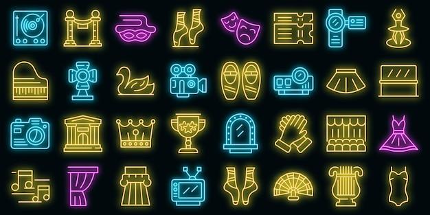 Set di icone di balletto. contorno set di icone vettoriali balletto colore neon su nero