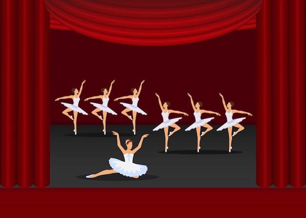Artisti delle ragazze di dancing di manifestazione di balletto sull'illustrazione della fase delle tende rosse.